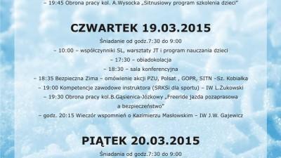Kursokonferencja IWiA (warsztaty JT i slalom na współczynniki 19.03.15r., slalom gigant na współczynniki 20.03.15r.)